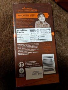 Equal Exchange社のオーガニックチョコレート(パッケージ裏)