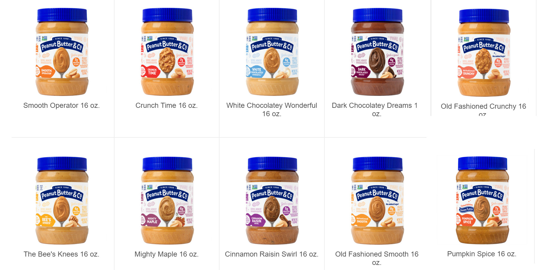 Peanut Butter & Co ピーナッツバターの種類