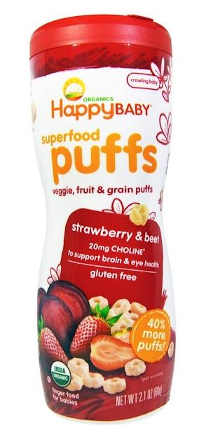 Happy Family Organics, オーガニックスーパーフードパフ, 指でつまめる食品, イチゴ&ビート, 2.1オンス(60 g)