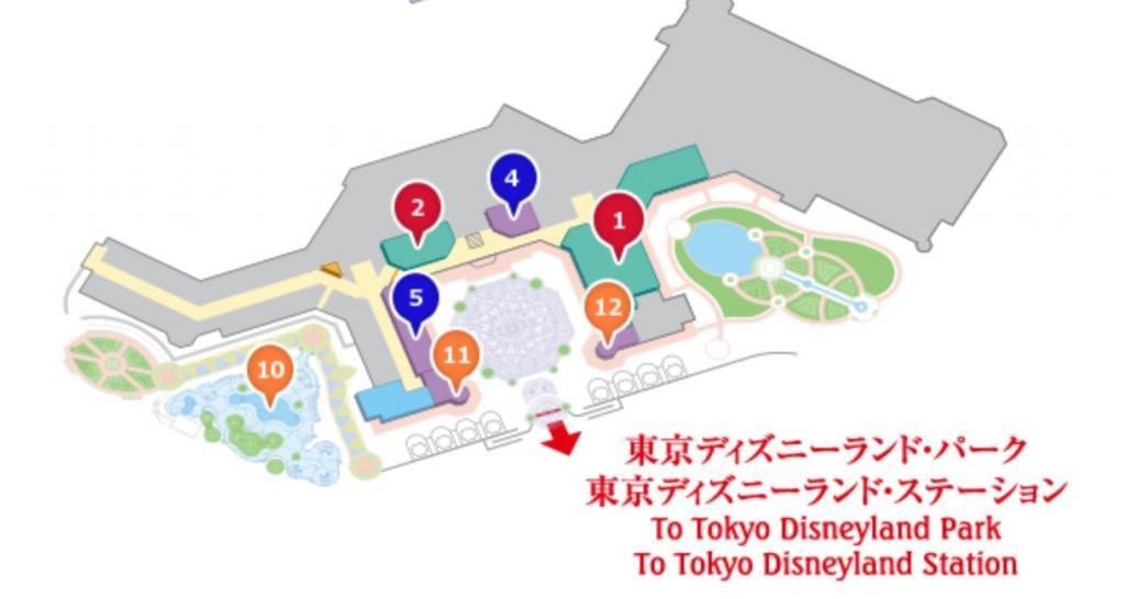 東京ディズニーランドホテル前のビビディバビディブティック地図